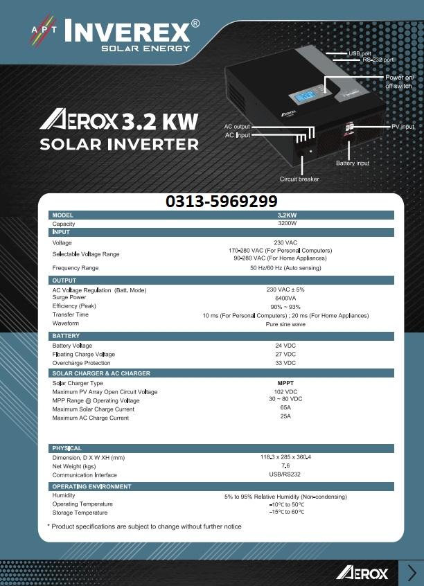 Inverex AEROX 3.2 KW Inverex Aerox iii 3.2 kw price specs 2019 Pakistan