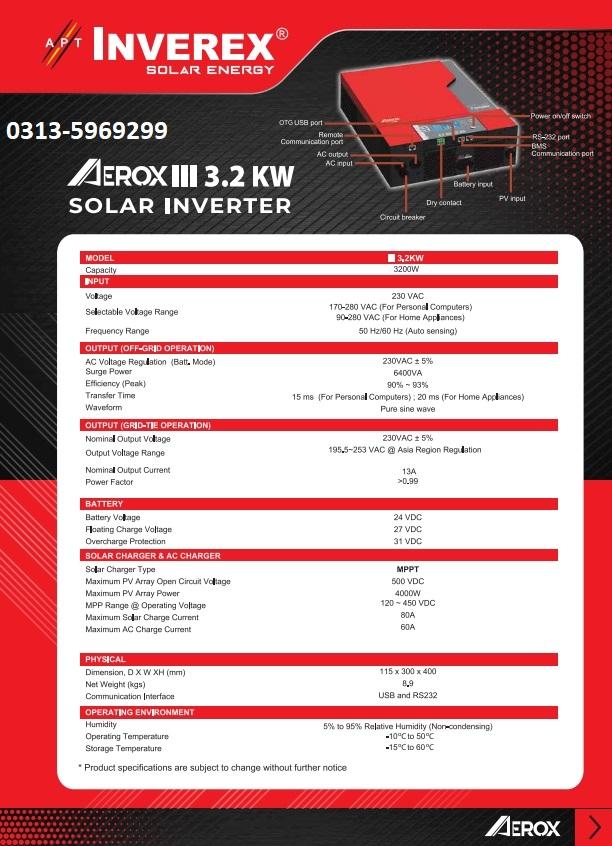 Inverex AEROX III 3.2 KW Inverex Aerox iii 3.2 kw price specs 2019 Pakistan
