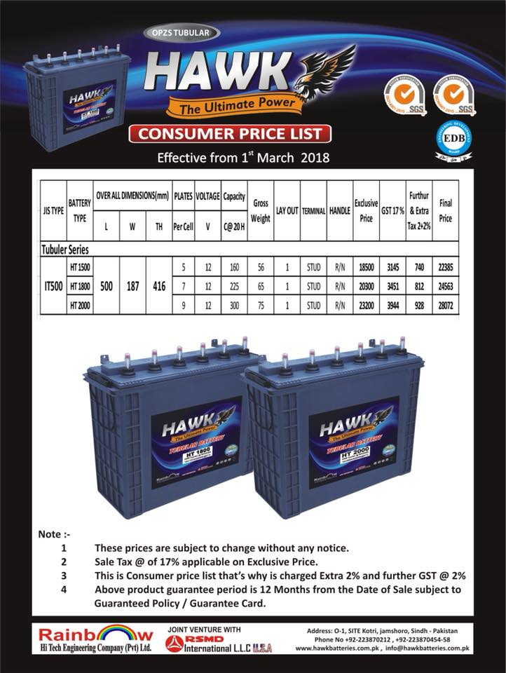 Hawk Tubular Battery Price In Pakistan 2019 Best Aboutbest About